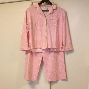 Charter Club pink polka dot pajamas set small